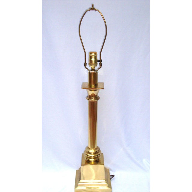 Hollywood Regency Brass Gold Greek Column Lamp - Image 11 of 11