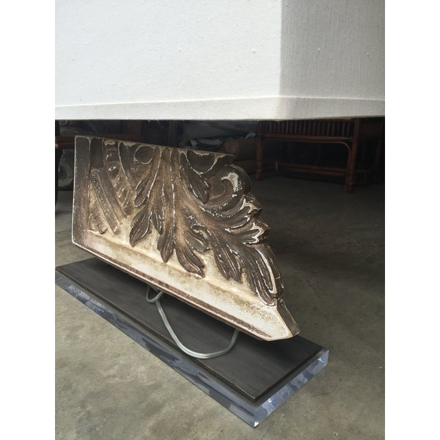 Image of Wood Lamp & Shade Lucite Stand