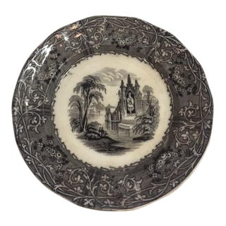 English Traditional Black and White Transferware Small Plate