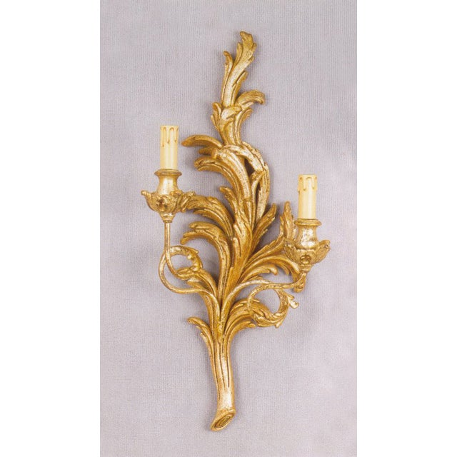 Italian Two-Light Gold Hand Carved Wood Sconce - Image 2 of 3