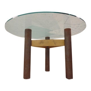 1986 Modernage Miami Postmodern Glass & Brass Geometric Dining Table