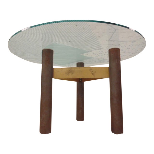 1986 Modernage Miami Postmodern Glass & Brass Geometric Dining Table - Image 1 of 6
