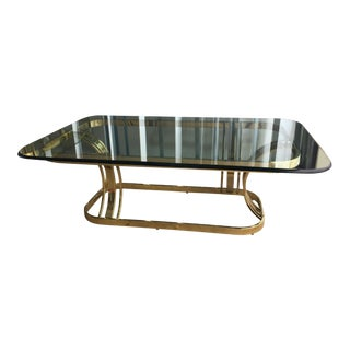 Hollywood Regency Sculptural Gold & Glass Coffee Table