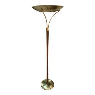 Vintage Brass and Walnut Torcherie Floor Lamp