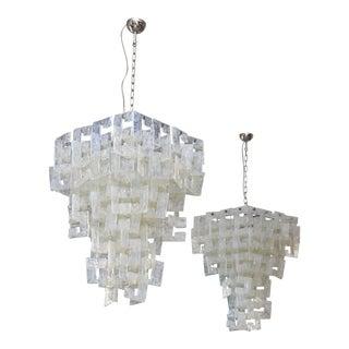 Pair of Italian Modern Opalescent Glass Chandeliers, Mazzega