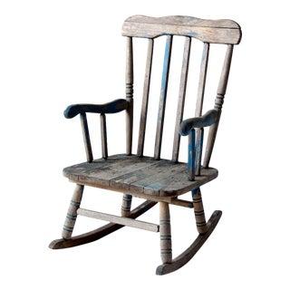 Vintage Distressed Blue Childrens Rocking Chair