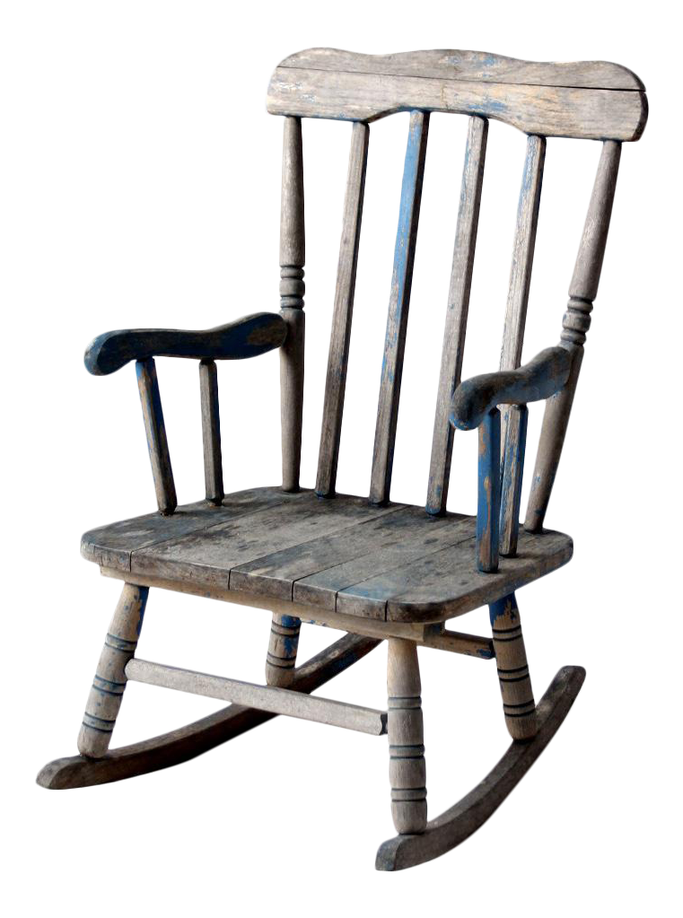 vintage distressed blue childrens rocking chair