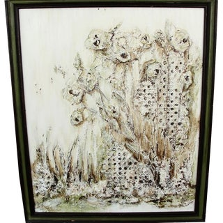 Abstract White Flowers on Masonite