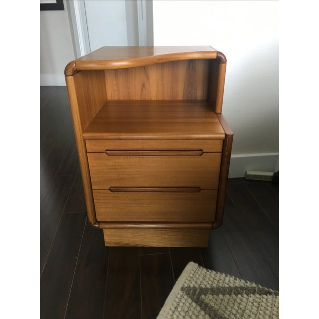 Contemporary Teak Nightstands - A Pair - Image 8 of 8