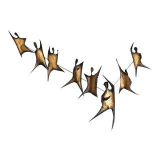 Striking Metal Wall Sculpture, Flame Dancers