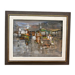Mid-Century Modern Abstract Cityscape Painting