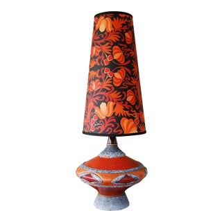 '60's Fat Lava-Inspired Chalkware Table Lamp & Custom Shade