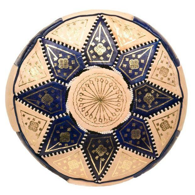 Moroccan Blue Pouf Ottoman - Image 2 of 3