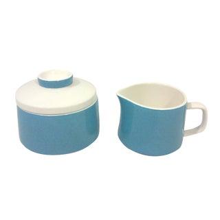 Blue Ceramic Mediterrania Creamer and Sugar