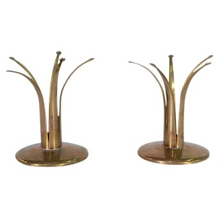 Pair of Brass Candlestick Holders by Ivar Ålenius Björk for Ystad Metal, Sweden