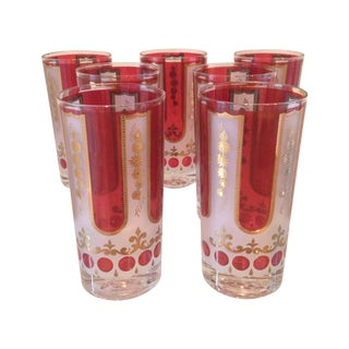 Red and Gold Mid Century Highball Glasses - 7