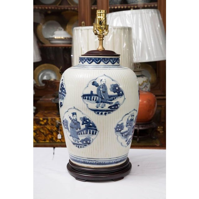 Pair of Chinese Blue and White Lamps - Image 5 of 7
