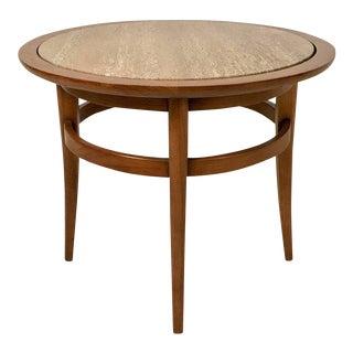 Drexel Meridian Pecan and Italian Travertine Lamp or End Table