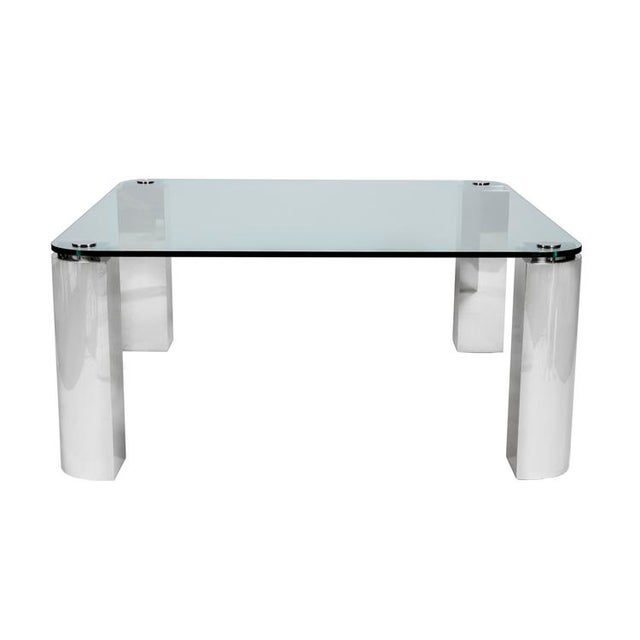 POLISHED STEEL AND GLASS DINING TABLE - Image 1 of 6