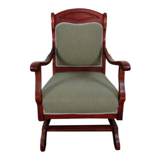 Vintage Carved Mahogany Angle Back Armchair