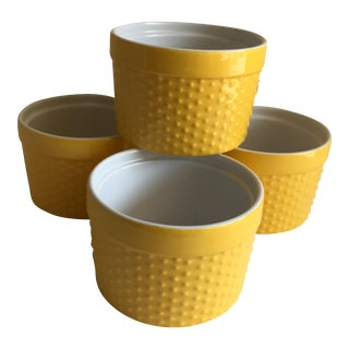 Yellow & White Custard Cups - Set of 4