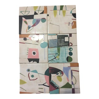 Contemporary Hand Painted Abstract Art Tiles - Set of 6