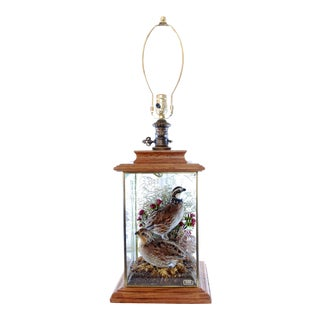 Wildlife Collection Mounted Quail Table Lamp With Oak Case.