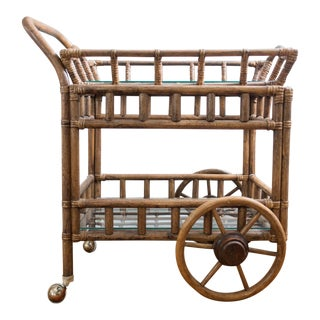 Vintage Removable Tray Bamboo Bar Cart