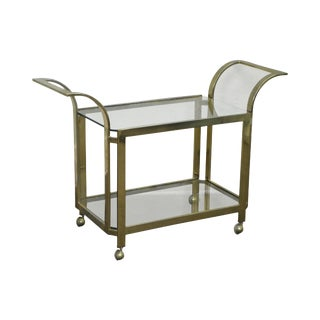 Mid Century Modern Brass & Glass Contemporary Serving Cart