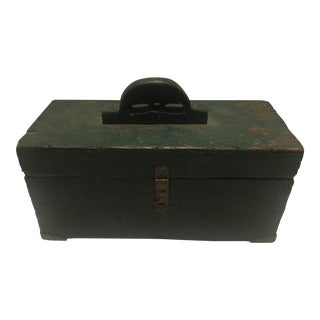 Vintage Hunter Green Wooded Tool Box