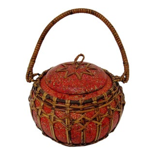Round Container with Wicker Accents