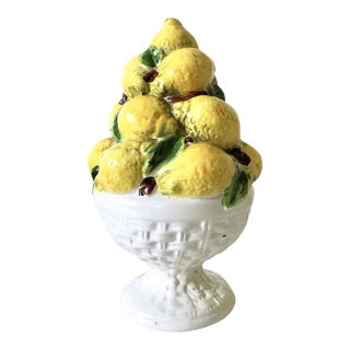 Pair Italian Majolica Lemon Topiary