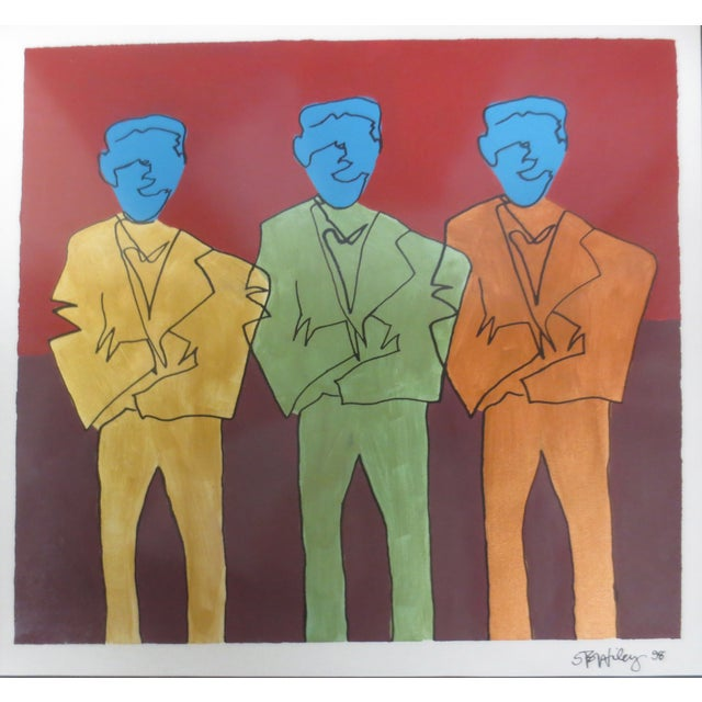 "STS Wiley ""Three Blue Men"" Ink & Acrylic on Paper - Image 3 of 7"