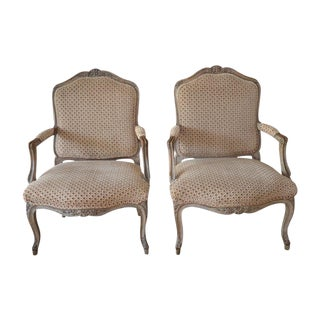 French Upholstered Bergere Chairs- A Pair