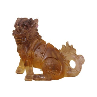 Crystal Glass Liuli Pate-de-verre Kirin Foo Dog Feng Shui Figure