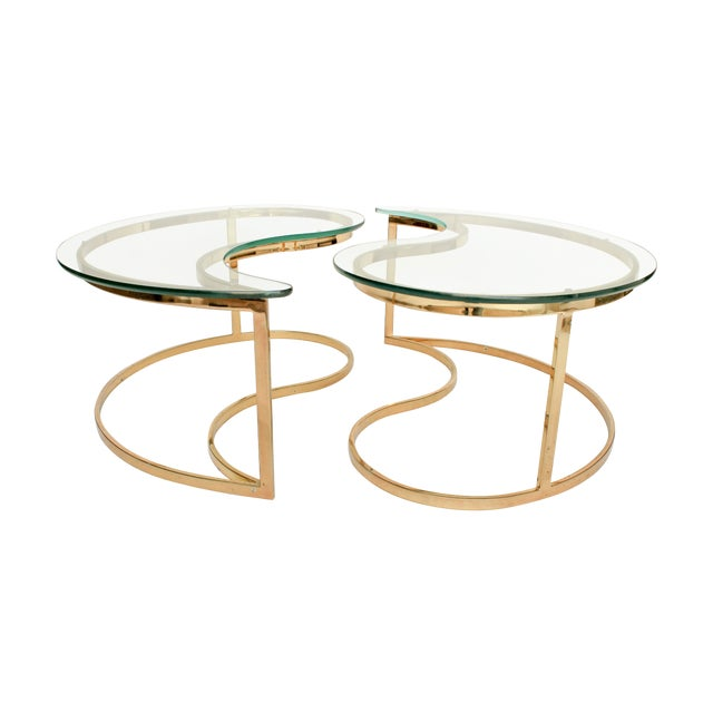 Yin Yang Brass & Glass Side Tables - A Pair - Image 1 of 7