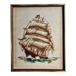 Framed Mid-Century Crewel Embroidery Ship