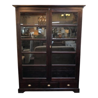 Glass Front Book Case + Three Drawers