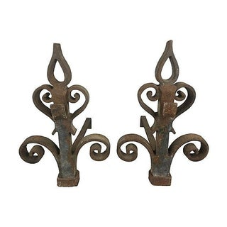 Rustic French Andirons - Pair