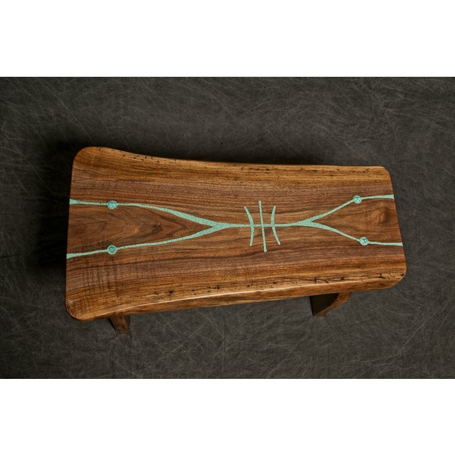 Black Walnut Live Edge Turquoise Inlay Slab Bench - Image 3 of 6