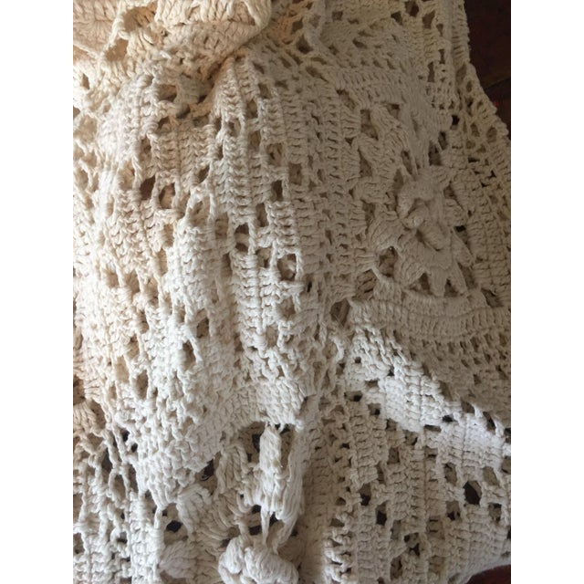 Linen & Cotton Crochet Throw Blanket - Image 4 of 9