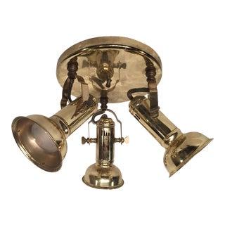 Vintage Brass Flush Mount, Adjustable Spotlights