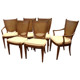 Thomasville Italian Cane Brass Dining Chairs - 6