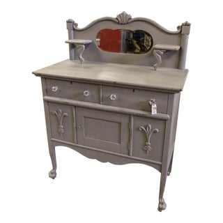 Vintage Gray Sideboard Cabinet With Mirror