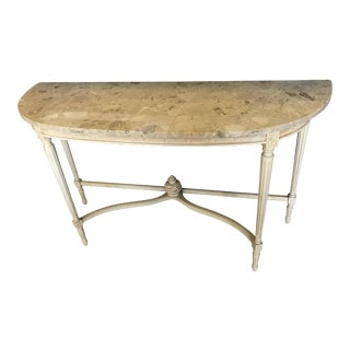 Vintage Demi-Lune Marble Top Console Table