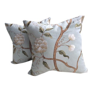 """Colefax and Fowler\Cowtan and Tout """"Snowtree"""" in Soft Aqua Linen Pillows - a Pair"""