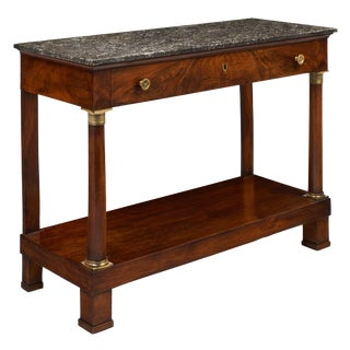 Antique French Empire Style Console Table with Sainte Anne Marble Top