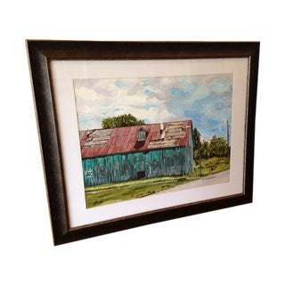 Distressed Vermont Barn Watercolor Painting