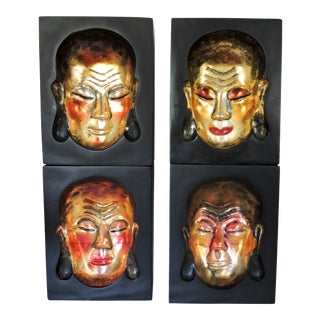 Golden Buddha Face Impressions - Set of 4