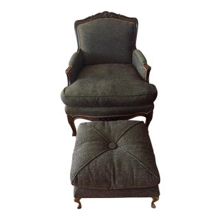 Vintage French Louis XV Style Bergere Chair & Ottoman